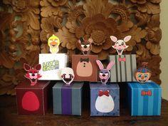 Caixinhas para guloseimas e decoração de mesa no tema FNAF - loja Design5 festas.