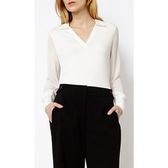 Buy Karen Millen Minimal Shirt, Ivory, 6 Online at johnlewis.com