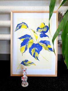Nadia de Donno / Risography A3: 30 CHF plant - illustration - yellow - blue Chf, Plant Illustration, Yellow, Blue, Graphic Design, Frame, Plants, Home Decor, Handmade