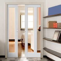 Double Pocket Dominica Shaker White sliding door system in three size widths with clear glass. #modernpocketdoorpair #internalpocketdoors #whiteslidingdoors