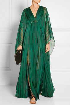 Tonal-green and black chiffon Concealed hook and zip fastening at side 100% polyester Dry clean Designer color: Clover Folded Stripe Print Imported