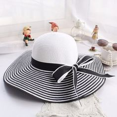 Black White Striped Bowknot Summer Wide Brimmed Straw Sun Hat With Bow a2996748930d