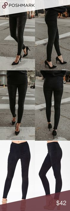Black Suede Moto Leggings High rise and stretchy fit faux suede Moto Leggings.  *pintuck detail on knees (Moto stitching) *elastic waist *not lined *fabric: 92% Polyester 8% Spandex *sizing: Small (0-4) Medium (4-6) Large (8-10) Pants