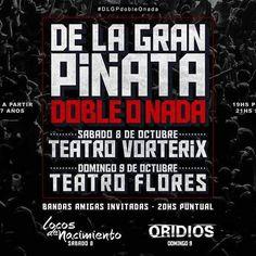 Ahora si! Anunciamos oficialmente que vamos a estar abriendo el show de los amigos de DLGP el Domingo 9 de Octubre en el Teatro de Flores.  #dlgpdobleonada
