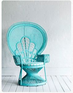 Also known as the Morticia Addams chair for and baby showers, this aqua colored beauty has it all. Take the classics add a shade of that has a visual pop and you can see why this wicker bridal chair will never go out of style! Wicker Furniture, Painted Furniture, Tree Furniture, Wicker Chairs, Outdoor Chairs, Outdoor Furniture, Rattan, Home Interior, Couches