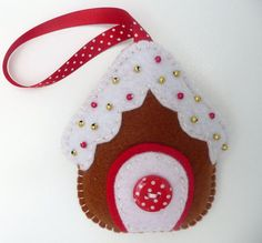 x3 Gingerbread House Felt Hanging Decorations by DevonlyCrafts, £13.50