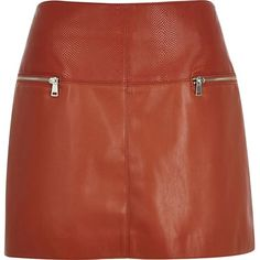 River Island Rust leather-look zip-side pelmet skirt ($30) ❤ liked on Polyvore featuring skirts, sale, women, zip skirt, vegan leather skirt, panel skirt, tall skirts and imitation leather skirt