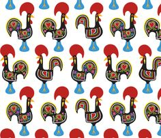 O Galo De Barcelos  - Portugal fabric by fattcheese on Spoonflower - custom fabric