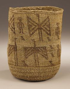 American Indian Art:Baskets, A WASCO TWINED SALLY BAG. . c. 1890. ...