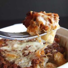 Cauliflower casserole topped with ground beef and melting cheese| giverecipe.com | #cauliflower #casserole #groundbeef