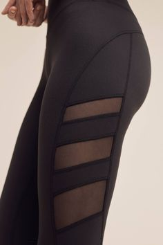 Slide View: 3: Mesh-Striped Studio Leggings