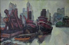 Tug Boats (New York series) c.1932 by Ron Blumberg