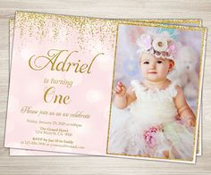 First birthday invitation one gold glitter birthday invitation first birthday invitation one gold glitter birthday invitation kids pink gold invitation girl photo invite pink gold birthday party pinterest gold filmwisefo