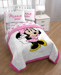 Disney Minnie Mouse Xoxo Twin Bed in a Bag - White Minnie Mouse Wall Decals, Minnie Mouse Bedding, Disney Bedding, Minnie Mouse Room Decor, Twin Bedroom Sets, Kids Bedroom, Bedroom Decor, Bedroom Inspo, Kids Rooms