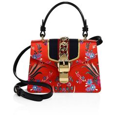 Gucci Mini Sylvie Floral Jacquard Top Handle Bag (€1.870) ❤ liked on Polyvore featuring bags, handbags, man bag, red handbags, chain strap purse, red hand bags and gucci handbags