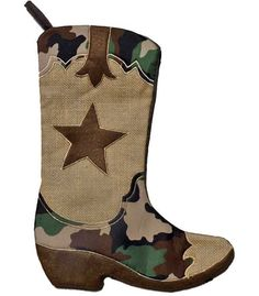 This is a really darling stocking for the outdoor or military person in your life. The center material is burlap (looks checked in picture but is just standard burlap). The dark brown material is slig Western Christmas, Prim Christmas, Christmas Stockings, Country Christmas, Christmas Trees, Diy Stockings, Brenda, Christmas Stocking Pattern, Xmas Ornaments
