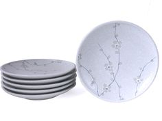 White Cherry Blossom Six Piece Plate Set