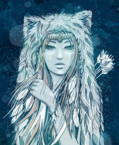 Skadi, the goddess of winter, was very beautiful indeed, in her silvery armour, with her glittering spear, sharp-pointed arrows, short white hunting dress, white fur leggings and broad snowshoes.