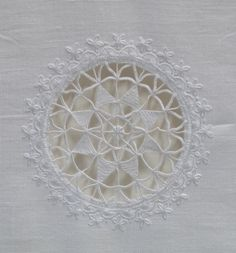 Original contemporary Whitework - framed table runner in the Style of Schwalm embroidery - jenny lohs whitework