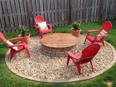Fire Pit Garden Design Firepit Ideas, Fire Pit Landscaping Ideas, Home Landscaping, Fire Pits Backyard Ideas, Rustic Backyard, Backyard Patio, Gravel Patio, Fire Pit Area, Diy Fire Pit