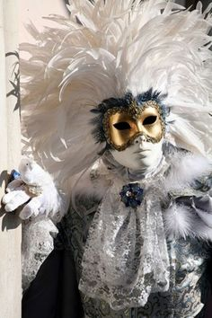 Venetian Carnevale costume, 2011, white, with touches of gold and black.  So wonderful.