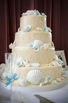 Beach Theme Wedding Cakes on Destination Wedding Cake Beach Theme 4 Tier Ivory Sand Blue Tropical Pretty Cakes, Beautiful Cakes, Beautiful Beach, Amazing Cakes, Perfect Wedding, Dream Wedding, Luxury Wedding, Beach Cakes, Wedding Cake Designs