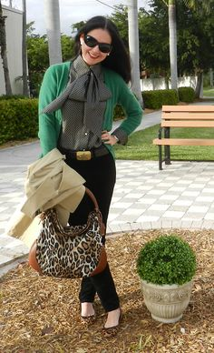 Black and white with kelly green, and some animal print for good measure!