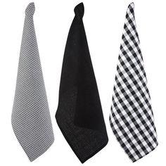 3 torchons, coloris noir et blanc, dim. 45x70 cm, coton.