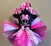 Girls+HBB+Black+Hot+Pink+Minnie+Mouse+1st+Birthday+Tutu+Outfit
