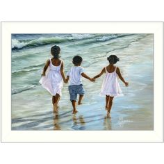 Running on the Beach by Georgia Janisse Framed Painting Print Reviews ❤ liked on Polyvore featuring home, home decor, wall art, beach home decor, beach home accessories, beach scene painting, framed paintings and beach scene wall art