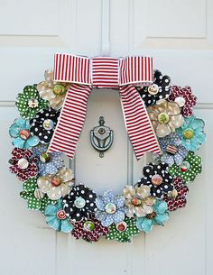 Paper Flower Wreath **American Crafts** by charmedgirl Wreath Crafts, Diy Wreath, Door Wreaths, Paper Crafts, Diy Crafts, Diy Paper, Paper Flower Wreaths, Fabric Flowers, Paper Flowers