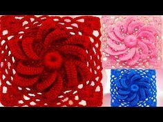 Como tejer a Crochet flor remolino de dos capas con relieve en cuadrado - YouTube