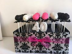 40th birthday cake pops in a box.  Something different.