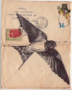 Bic biro drawing on a 1972 Vietnamese envelope. Art Print by Mark Powell Bic Biro Drawings Art And Illustration, Vintage Bird Illustration, Vintage Illustrations, Phenix Tattoo, Biro Drawing, Envelope Art, Arte Sketchbook, Tatoo Art, Mail Art