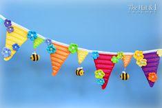 CROCHET PATTERN Bee Happy Bunting crochet bunting by TheHatandI