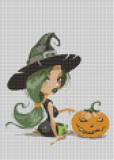 Witch and Pumpkin Cross Stitch Pattern by LindaPatterns on Etsy, $4.00