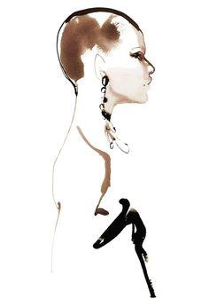Portrait Illustration Saint Laurent illustration by David Downton - Inside the David Downton couture fashion illustration exhibition at Assouline David Downton, Illustration Mode, Portrait Illustration, Fashion Design Books, Fashion Art, Paris Fashion, Fashion Sketches, Fashion Illustrations, Dress Sketches