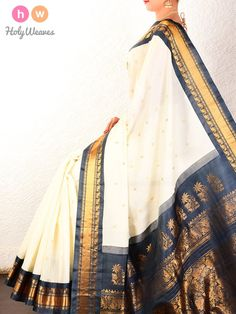 #Cream #Black #Gadwal #Kadhuan #Brocade #Handwoven #Cotton #Silk #Saree #HolyWeaves