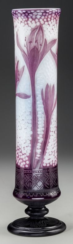 DAUM OVERLAY OPALESCENT GLASS CROCUS VASE WITH MARTELÉ, Nancy,France, circa 1906.