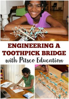 Learn how to build a toothpick bridge with kids using this wonderful curriculum from Pitsco Education! Stem Science, Teaching Science, Teaching Kids, Kids Learning, Kid Science, Physical Science, Teaching Methods, Teaching Resources, Math Projects