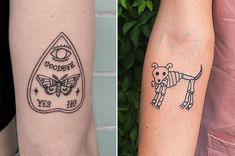 This fun 'n' funky doggo skeleton: 21 Cute 'N' Spooky Tattoos For Anyone Who Loves All Things Supernatural Funky Tattoos, Food Tattoos, Spooky Tattoos, 13 Tattoos, Skeleton Tattoos, Disney Tattoos, Body Art Tattoos, Small Tattoos, Sleeve Tattoos