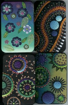 Polymer clay mini-canvases. I especially love the colors of the bottom two.