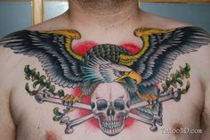 Chest Tattoo # 62 - Amazing chest piece of skull bones and eagle. We love colors used in this tattoo according to skin tone of the wearer:)