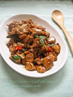 Thai Basil Chicken Stir-fry Recipe- Made this tonight. It was really good! I am partial to a basil stir-fry, though. I added a ton of veggies; bamboo shoots, baby corn, water chestnuts, and carrots.