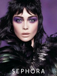Siri Tollerod dark hair, purple eyeshadow
