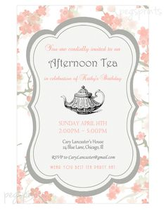 Birthday Tea Party Invitation Pink Floral Printable by pegsprints
