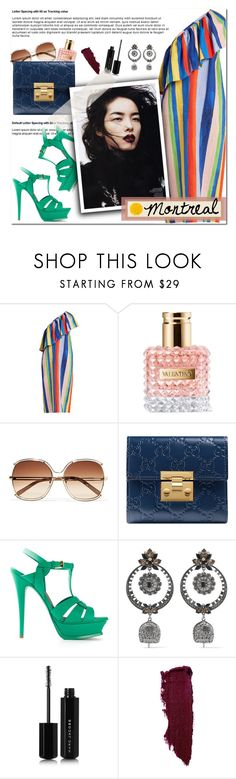 """""""How to Style a Colorful Striped Dress with Green Heels, a Blue Clutch and Clear Sunglasses for Travel to Graduation in Montreal, Canada"""" by outfitsfortravel ❤ liked on Polyvore featuring Mara Hoffman, Valentino, Chloé, Gucci, Yves Saint Laurent, Alexander McQueen, Marc Jacobs and Illamasqua"""