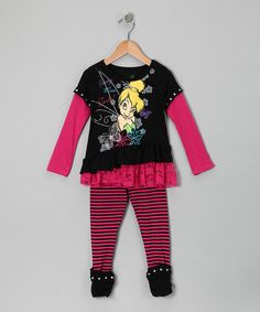Take a look at this Black & Hot Pink Tinker Bell Layered Tunic & Leggings - Toddler by Disney on #zulily today!