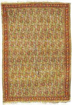 Antique Senneh Rugs: Ivory Ground Senneh Carpet Circa 1880 lot 6