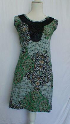Calessa Green Multi Color Boho Flirty Mini Dress Women's Size S Measurements #Calessa
